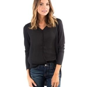 Downeast Black Long Sleeve Blouse Top